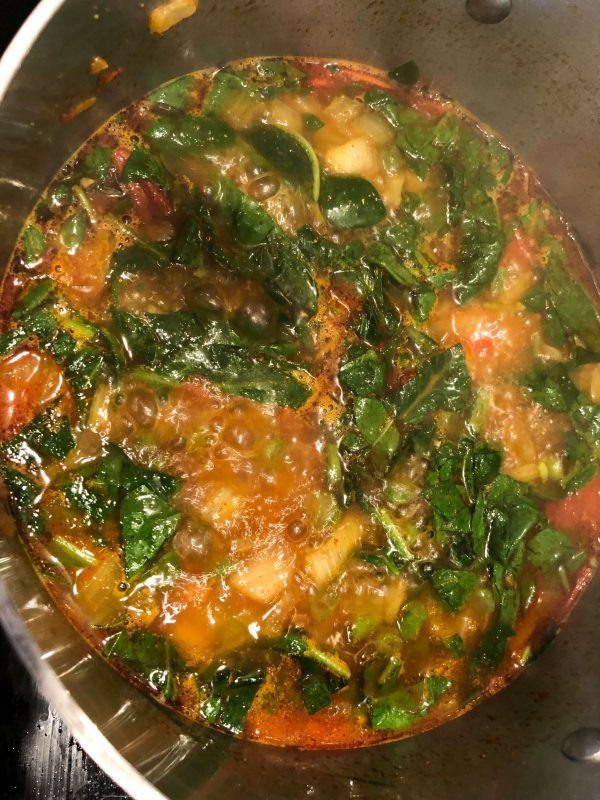 Add the spinach at the end as it cooks very quickly; cook for 2 minutes